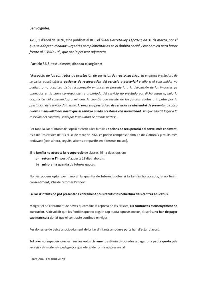 Circular de la asociación catalana de escuelas infantiles