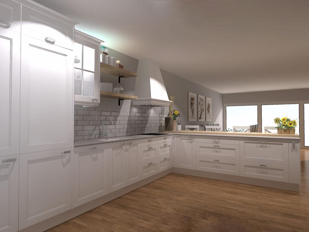 cocina abierta blanca con azulejos metro y campana decorativa